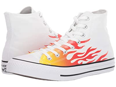 Converse Chuck Taylor All Star Canvas Archive Flame Print Hi (White/Enamel Red/Fresh Yellow) Shoes