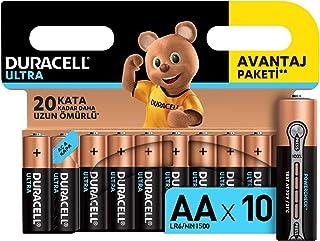 Duracell Ultra Alkalin AA Kalem Piller, 10'lu paket