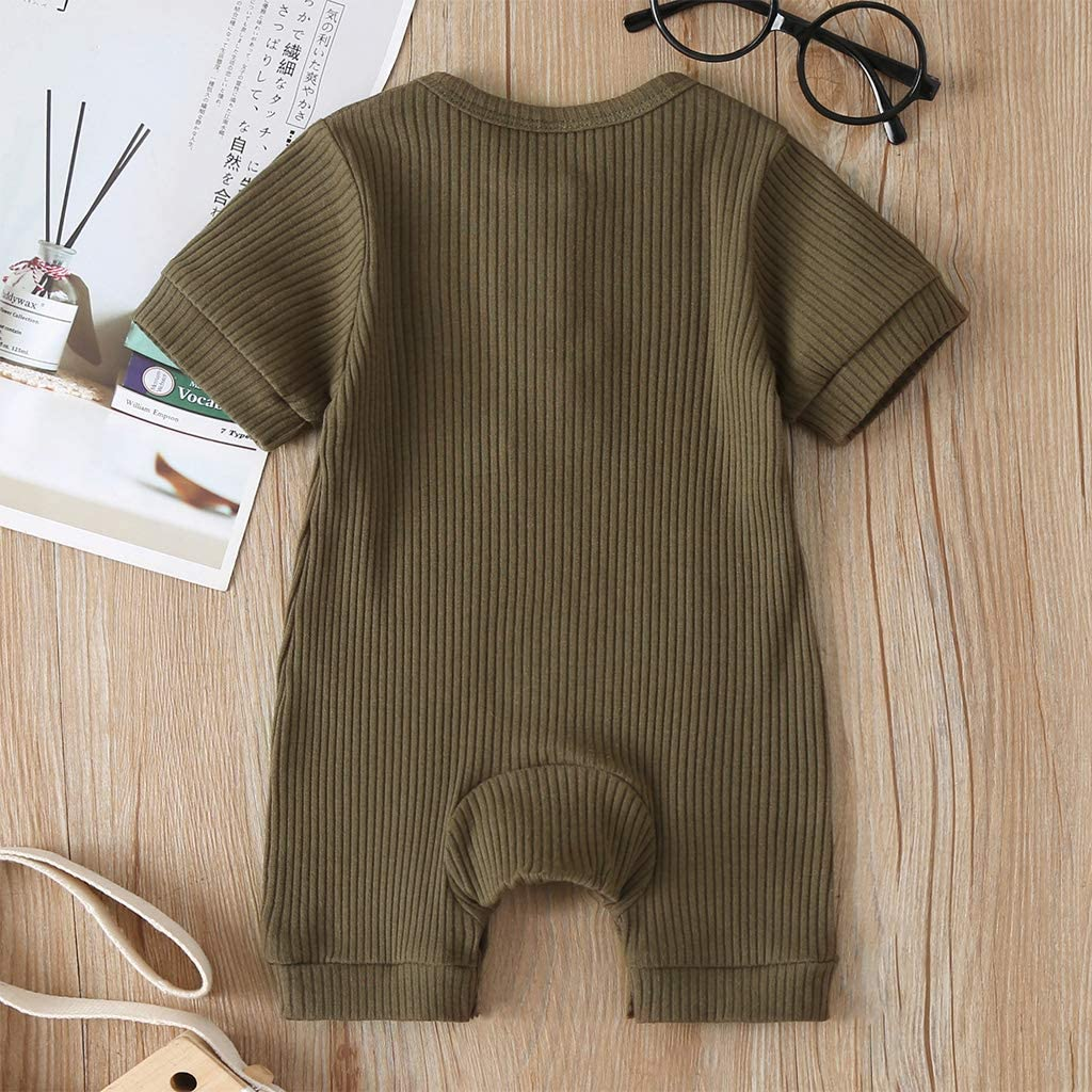 GOOCHEER Baby Girl Boy Romper Bodysuit Solid Plain One Piece Jumpsuit Pajamas Ruffle Sleeveless One Piece Baby Clothes Outfit