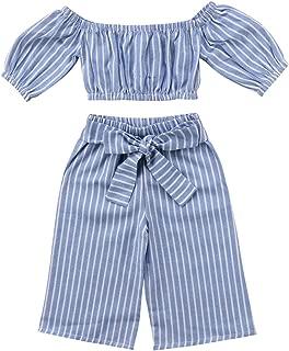 Toddler Girl Stripe Off-Shoulder Tube Top + Pant Set Outfit