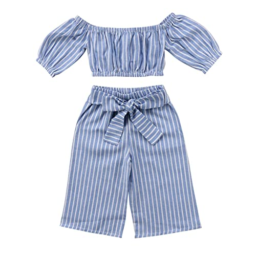 ab8a0e8b9b5bd Toddler Girl Stripe Off-Shouler Tube Top + Pant Set Outfit