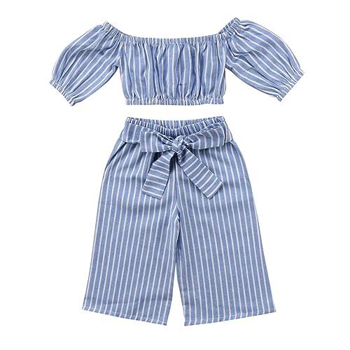 7dc3002d274f Toddler Girl Stripe Off-Shouler Tube Top + Pant Set Outfit