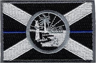 Florida State Flag Thin Blue Line Morale Hook Fastener Patch (MTF3)