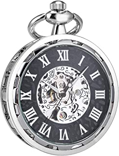 Steampunk Transparent Open Face Pocket Watch for Men Women Silver Black Skeleton with Chain + Box