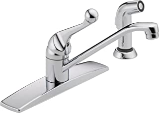 Delta Faucet Classic Single-Handle Kitchen Sink Faucet with Side Sprayer in Matching Finish, Chrome 400LF-WF (8.00 x 13.00...