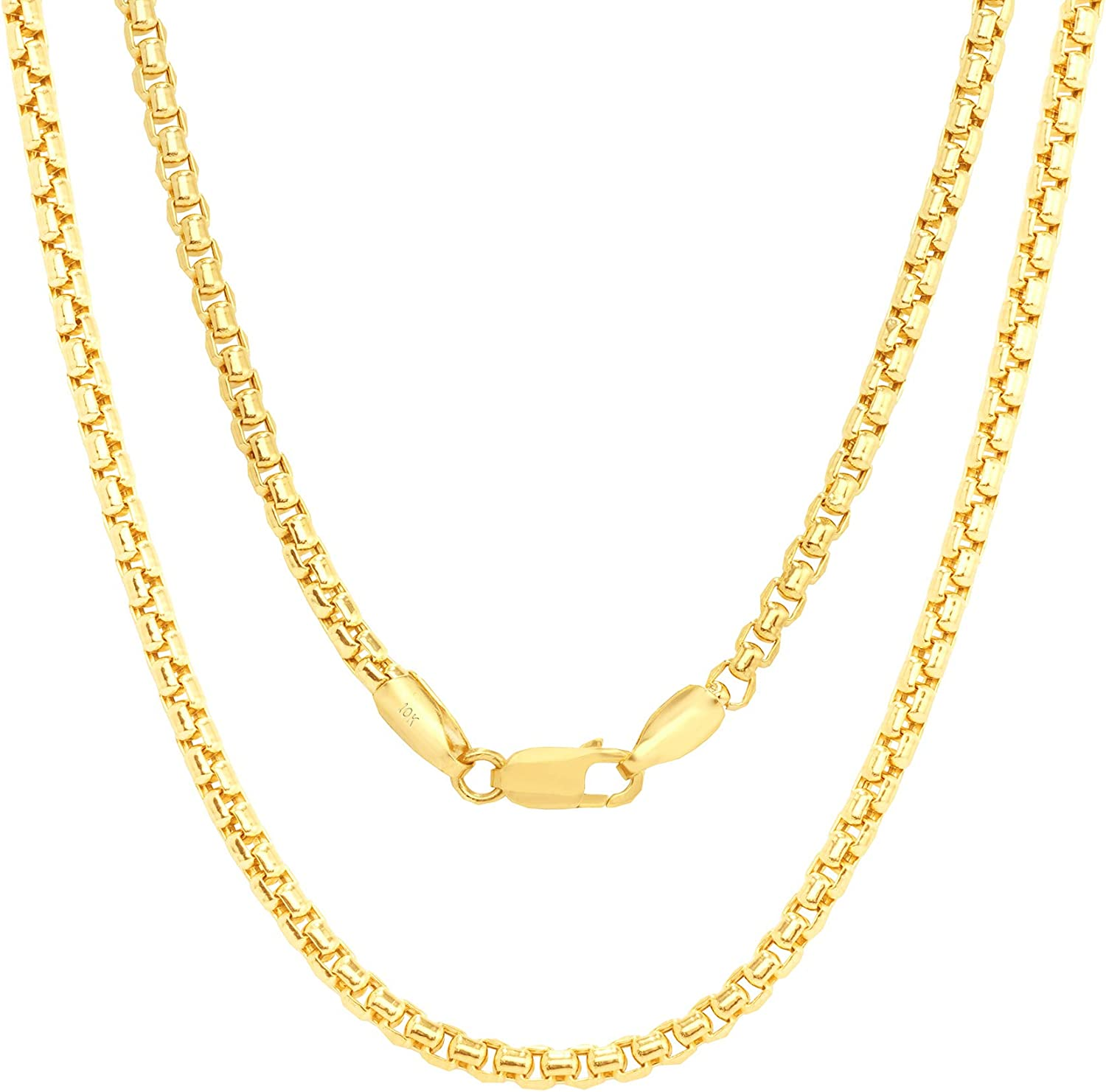 Nuragold 10k Yellow Gold 2.5mm Round Box Chain Venetian Link Pendant Necklace, Mens Womens Lobster Lock 16