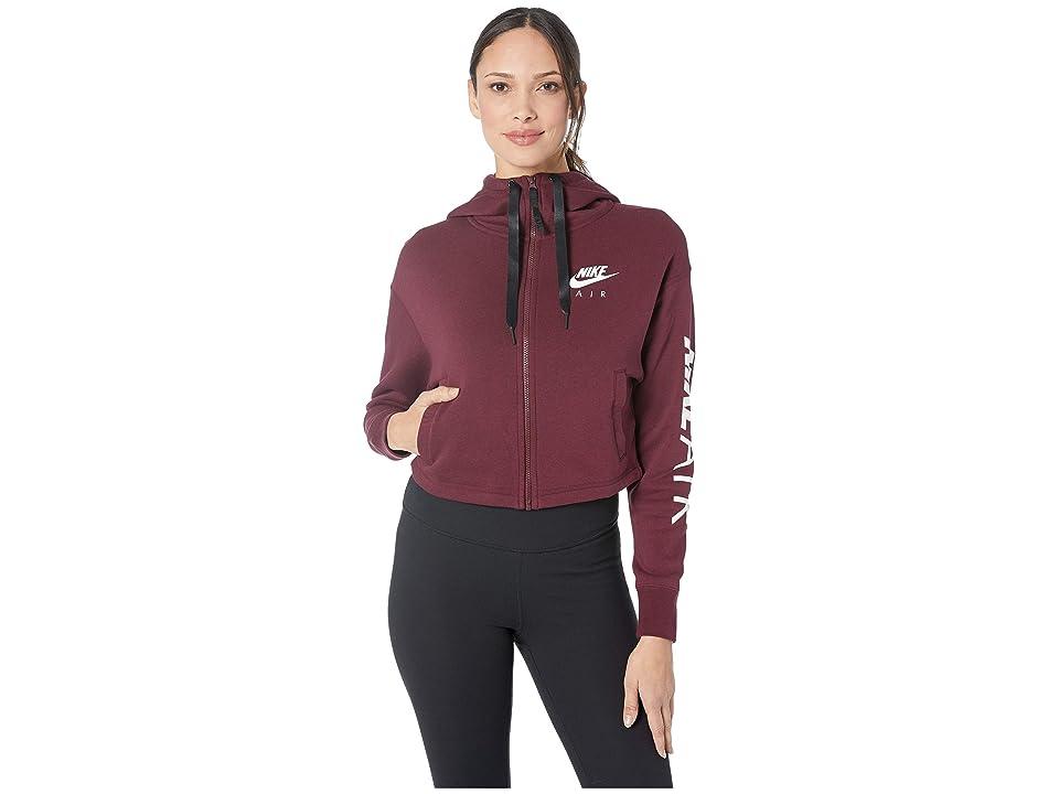 Nike Sportswear Air Hoodie Full Zip Fleece (Night Maroon/White) Women