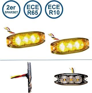 LED MARTIN® 2er Sparset R65 Blitzmodul SF3   super flach   12V 24V   mit ECE R65 Zulassung   Als Frontblitzer, Stauwarner, Heckwarnanlage für PKW, LKW geeignet.