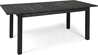 Christopher Knight Home 305357 Eric Outdoor Expandable Acacia Wood Dining Table, Dark Gray Finish