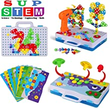 Building Board Drill Set and Button Art Kit, 224 Pieces Mushroom Nails Pegboard Mosaic Puzzle with Drill & Screwdriver Tool, Best Early Learning STEM Toys for Preschool 3 4 5 6 7 8 Year Old Kids Gift