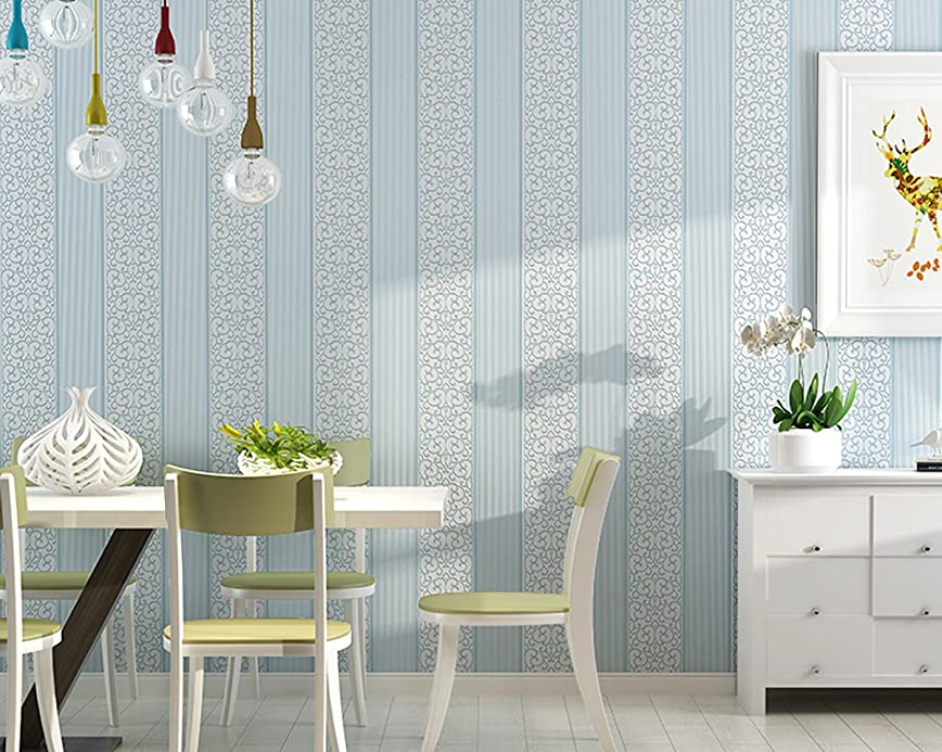 食物同時銀河DIY 壁紙シール 簡単 模様替え 3D立体 不織布 壁紙 貼付シールタイプ ストライプ柄 はがせる壁紙 シンプルな欧米風 ベッドルーム リビングルームの背景 53cmx5m (ライトブルー)
