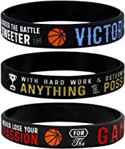 Sainstone Power of Faith Basketball Silicone Wristbands with Motivational Sayings - Inspirational Motto - Basketball Rubber Bracelets Sports Holiday Jewelry Gifts (Unisex)