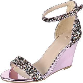 Women's Open Toe Single Band Buckle Strappy Ankle Glitter Dress Wedge Sandal
