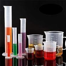 Plastic Graduated Cylinders& Plastic Beakers,Teenitor 5pcs Plastic Graduated Cylinders 10ml 25ml 50ml 100ml 250ml & 5pcs Plastic Beakers 50ml 100ml 250ml 500ml1000ml Clear 10pcs