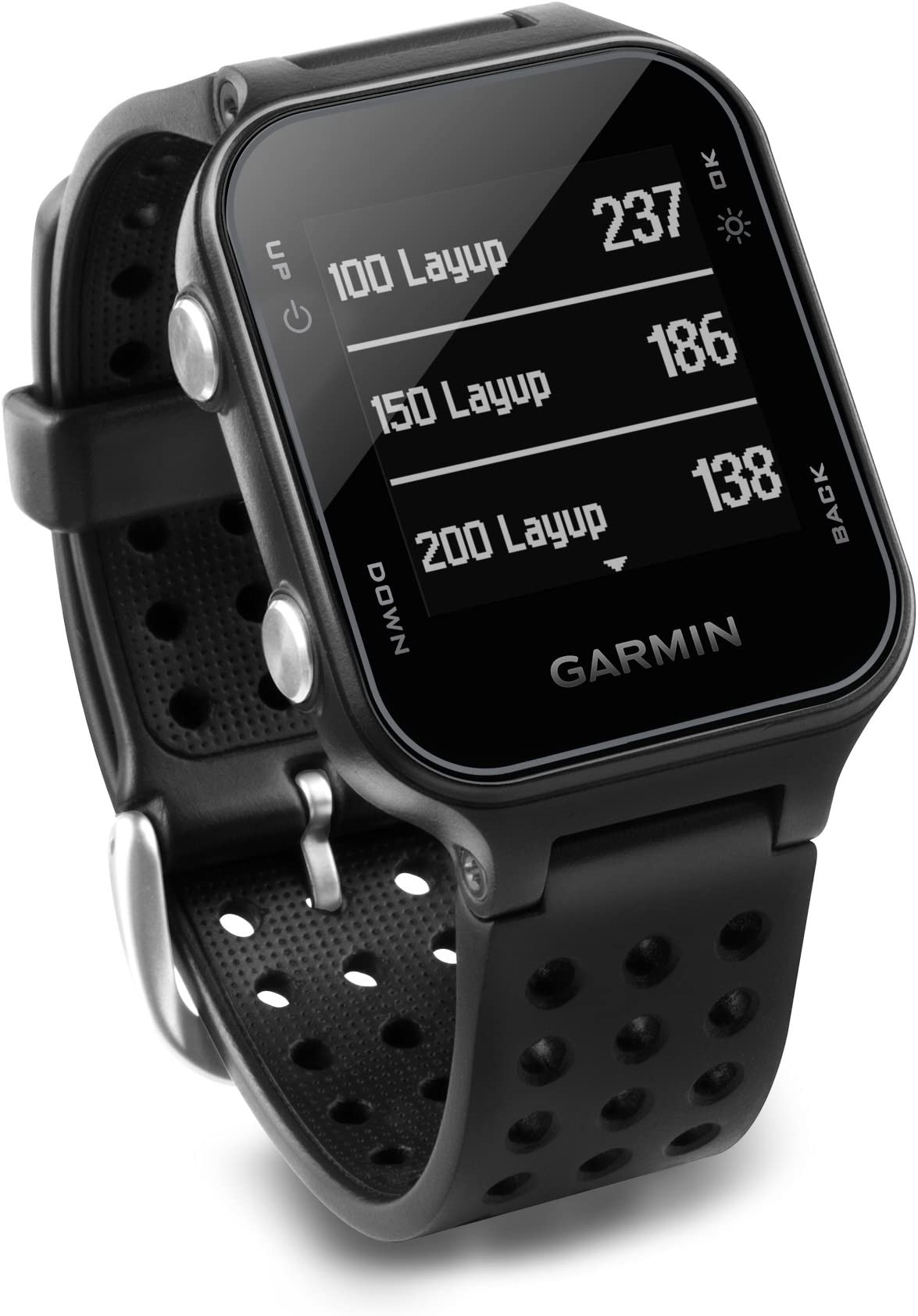 Garmin 010-03723-01 Approach S20, GPS Golf Watch with Step Tracking, Preloaded Courses, Black