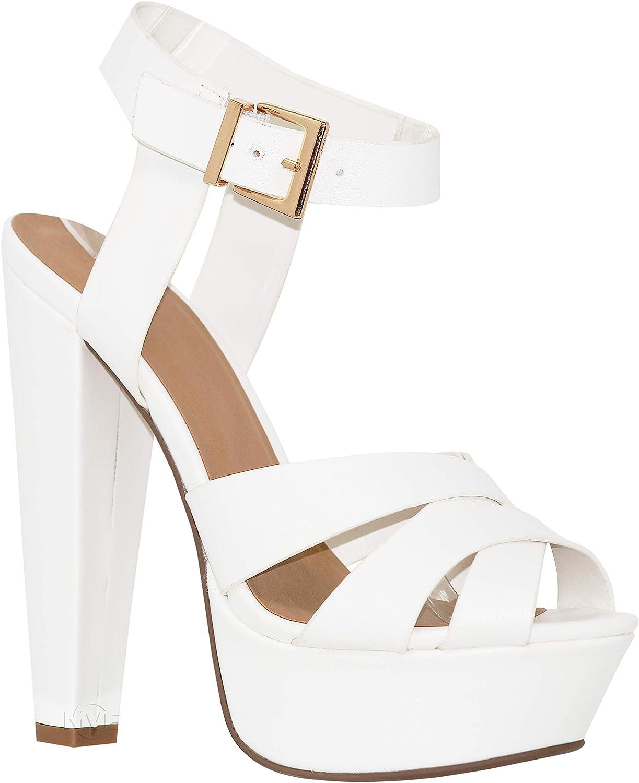 MVE shoes Women's Block Heel Platform Cut Out Slip On Sexy Heeled Sandal