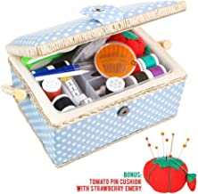 Medium Sewing Basket Organizer with Complete Sewing Kit Accessories Included, Wooden Sewing Box Kit with Removable Tray and Tomato Pincushion for Sewing Mending, Blue