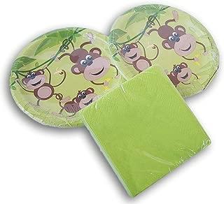 Green Monkey Party Supply Kit - (16) Cake Plates and (30) Beverage Napkins
