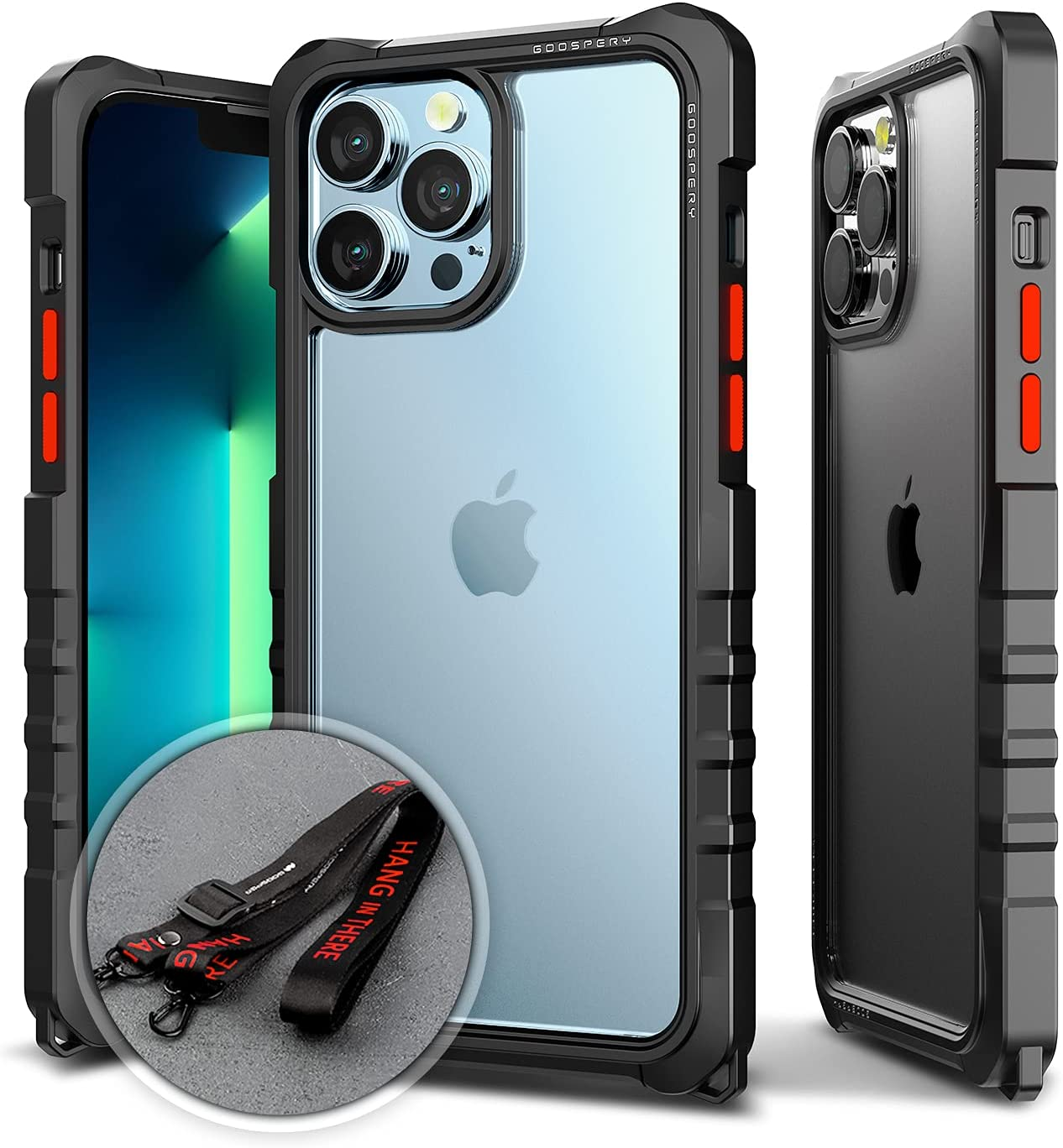 Goospery Z Bumper Compatible with iPhone 13 Pro Max Case [Strap Included] Shock Absorbing Dual Layer Structure TPU Edge Crystal Clear PC Back Cover with Shoulder Strap (Black) IP13PM-ZBM-BLK-STR