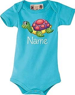 Shirtstown Bio Baby Body, mit tollen Motiven inkl. Ihrem Wunschnamen Schildkröte, Sprüche Logo Tiere, Zoo, Baby Logo Strampler Strampelanzug