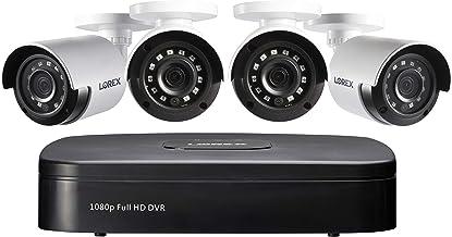 Lorex 1080p سیستم امنیتی ضد آب با سیم ، دوربین های گلوله ای 4 * 1080p با دوربین 4 کانال DVR | دید در شب IR | تشخیص حرکت پیشرفته