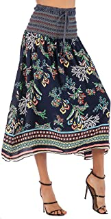 TOUTOUAI Women's Vintage A-line Printed Pleated Flared Casual High Waist Skirt