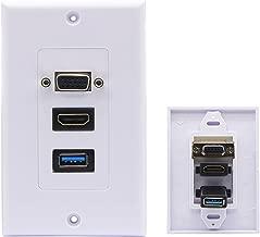 CERRXIAN USB 3.0 HDMI VGA Audio Stereo Pass Through Component Composite Wall Face Plate Panel