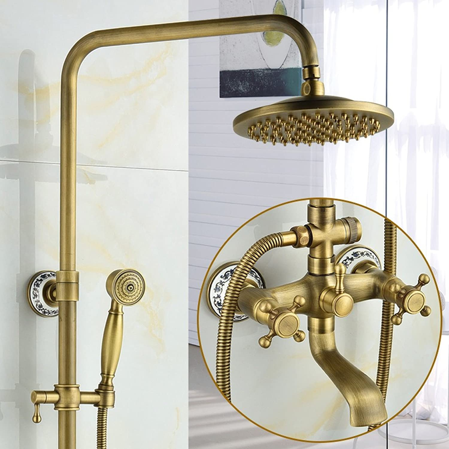 Shower set LJ European Style Retro bluee And White Porcelain All Bronze Hot And Cold Faucet Bathroom (Size   C2)