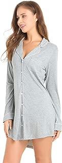 Womens Short Sleeve Nightgown Button Down Nightshirt Bamboo Sleep Shirt Soft Pajama Top