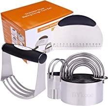 Sponsored Ad - BYkooc Biscuit Cutter Set,Stainless Steel Pastry Cutters,5 Round Cookie Cutter with Handle, Heavy Duty Doug...