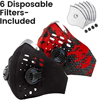 Axsyon Dust Mask- Sports & Lifestyle Face Mask- 3 Filters & 2 Valves Included. Suitable for Woodworking, Outdoor Activities. N95