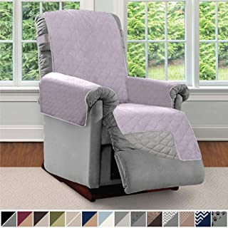 Sofa Shield Original Patent Pending Reversible Recliner Slipcover, 2 Inch Strap Hook Seat Width to 25 Inch Washable Slip Cover Furniture Protector for Recliners, Pets, Small Recliner, Purple Lt Gray