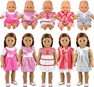 comprar comparacion Miunana 5X Vestidos Verano Casual Ropas Fashion para 14- 18 Pulgadas Muñeca bebé 36 cm Doll 18 Pulgadas American Girl Doll