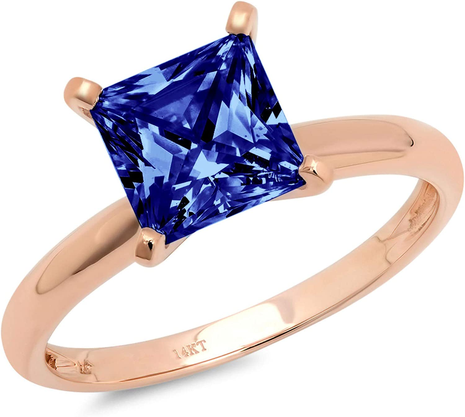 2.95 ct Brilliant Princess Cut Solitaire Flawless Simulated CZ Blue Tanzanite Ideal VVS1 4-Prong Engagement Wedding Bridal Promise Anniversary Designer Ring Solid 14k Rose Gold for Women