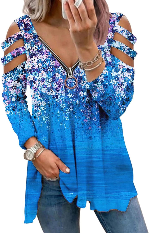 Sweatshirts for Women,Womens Aesthetic Sweatshirts Zip Up Vintage Flower Print Long Sleeves Off Shoulder Pullover