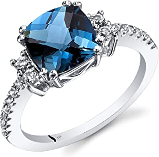14K White Gold London Blue Topaz Ring Cushion Checkerboard Cut 2.50 Carats Sizes 5 to 9