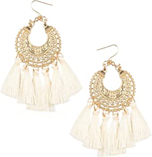 Tassel Hoop Statement Earrings for Women Girls Handmade Bohemian Alloy Thread Fringe Drop Dangle Trendy Vintage Light Hook Ear Jewelry Accessories Present for Friend with Gushion Gift Box