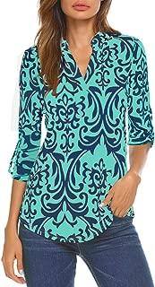 Halife Women's Sleeveless Floral Print V Neck Henley Tank Tops Blouse Shirts Tunic