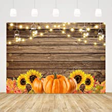 Rustic Thanksgiving Backdrops for Photography Pumpkin Sunflower Background 7x5ft Fall Wood Backdrop Birthday Party Decorations Baby Shower Back Drop Bridal Shower Banner Autumn Photo Booth Props