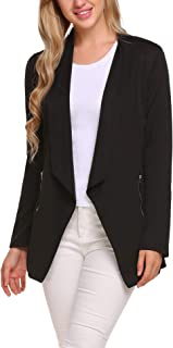 Womens Long Blazer Work Office Stretchy Open Front Lapel Jacket Solid Knit Blazers S-XXL