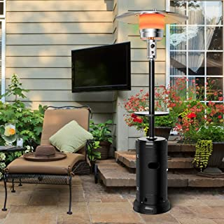 Taltintoo20 48,000 BTU Outdoor Heater Propane Standing LP Gas Steel with Table & Wheels, Size 32 x 32 x 87 inches Weight 35 Pound Suitable for Different Places Like Patio, Deck and Garden