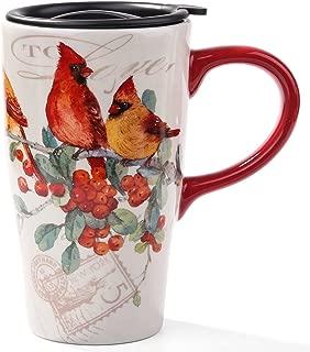 Minigift MN1005 Travel Cup, Tea Coffee Mug Beautiful Ceramic Cups with Lid,Handmade Milk Mug as Gift 16oz for Women Men Kids-Cardinals Birds