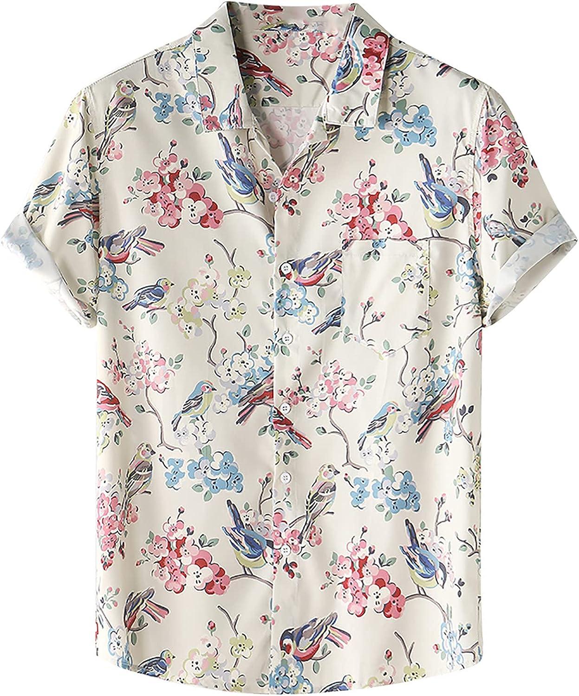 Hawaiian Shirt for Men Short Sleeve Summer Loose Button Up Tee Casual Printing Tops Blouse Lapel T-Shirt