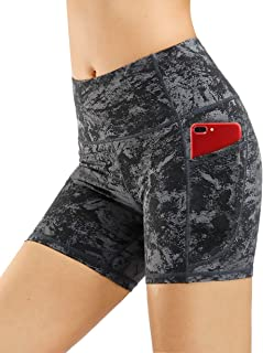High Waist Yoga Shorts for Women Tummy Control Fitness Athletic Workout Running Shorts with Deep Pockets