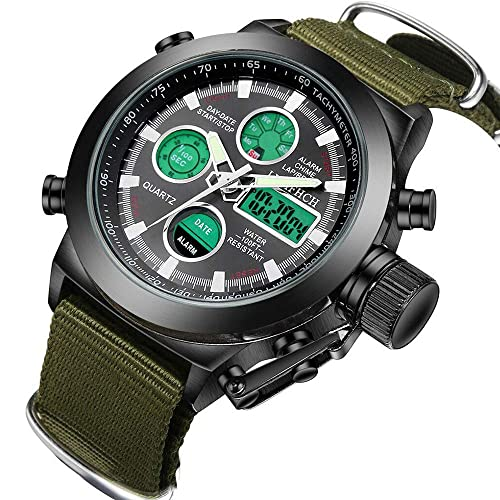 Mens Black Big Face Sports Watch, LED Digital Analog Waterproof Military Luminous Stopwatch Army Green