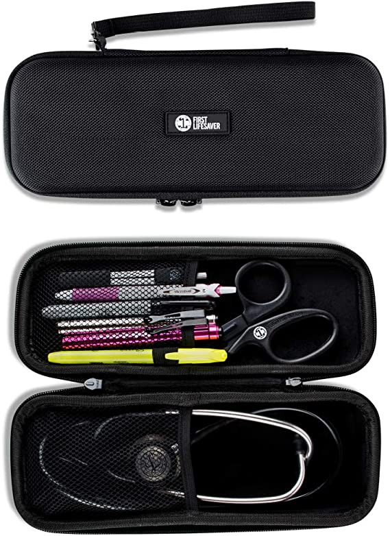 First Lifesaver Stethoscope Case with Interior Mesh Pockets and Penlight Holder