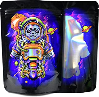 100 Pack Mylar Bag,7 Gram Printed Design Stand-up Packaging Pouch, Resealable Zip Lock Foil Food Storage Baggies Safe Mate...