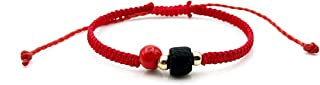 Red String Protection Bracelet for the New Family Member Against Evil Eye Genuine Jet Stone Azabache Para el Mal de Ojo