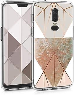 kwmobile hoesje compatibel met OnePlus 6 - Smartphonehoesje in beige/roségoud/wit - Geometrische Driehoeken