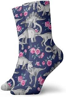 Elsaone, Calcetines de dinosaurios y rosas Calcetines divertidos Calcetines locos Calcetines casuales para niñas Niños